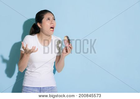 Girl Looking At Above Showing Painful Emotional