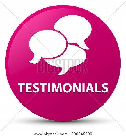 Testimonials (comments Icon) Pink Round Button