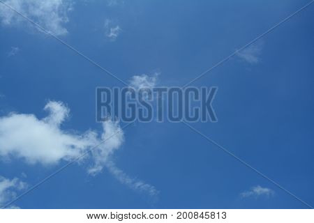 The Blue Sky With Little Clouds  In Sunny Day