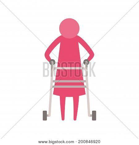 color pink silhouette pictogram elderly woman in assistance walker vector illustration