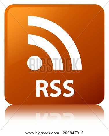 Rss Brown Square Button