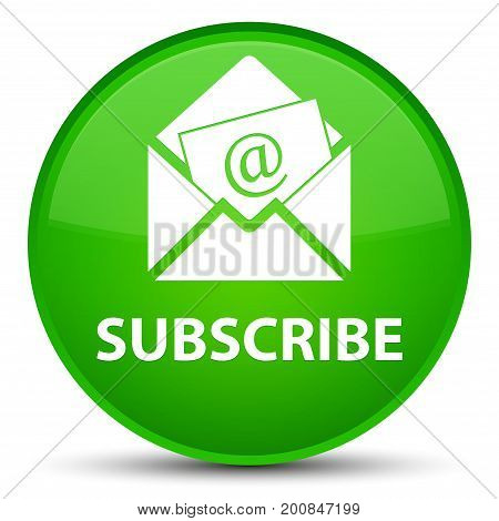 Subscribe (newsletter Email Icon) Special Green Round Button
