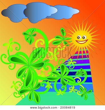 Childlike summer garden vector illustration