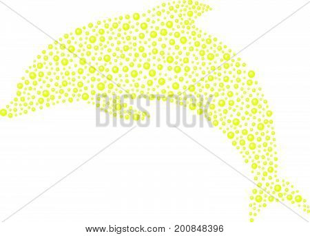 Dolphin made of yellow balls on white background