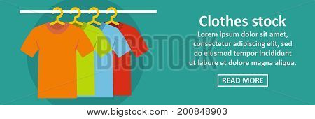 Clothes stock banner horizontal concept. Flat illustration of clothes stock banner horizontal vector concept for web