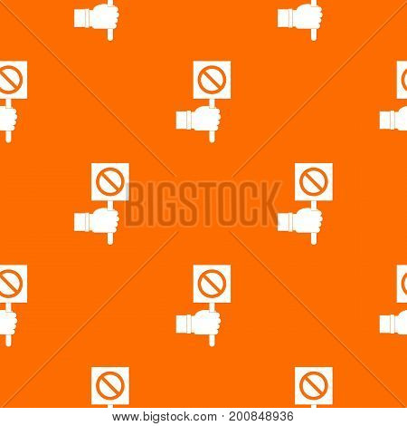 Hand showing stop signboard pattern repeat seamless in orange color for any design. Vector geometric illustration