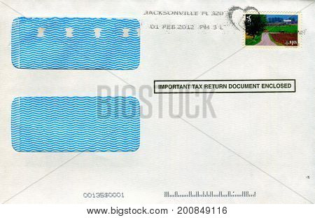 GOMEL, BELARUS - AUGUST 12, 2017: Old envelope which was dispatched from USA to Gomel, Belarus, August 12, 2017.