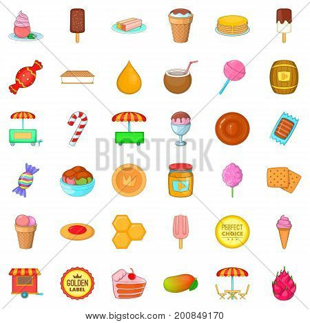 Dessert icons set. Cartoon style of 36 dessert vector icons for web isolated on white background