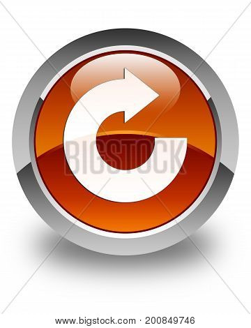 Reply Arrow Icon Glossy Brown Round Button