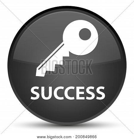 Success (key Icon) Special Black Round Button