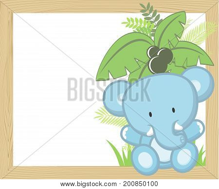 cute baby elephant with tropical leaves and palm tree on empty wood frame for copy space ideal for nursery art decoration or scrapbooking projects