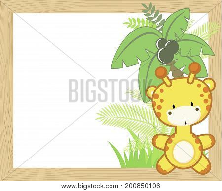 cute baby giraffe with tropical leaves and palm tree on empty wood frame for copy space ideal for nursery art decoration or scrapbooking projects
