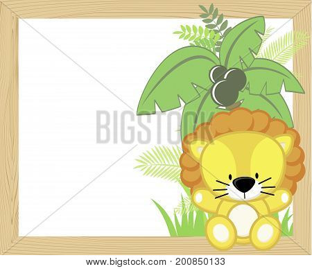 cute baby lion with tropical leaves and palm tree on empty wood frame for copy space ideal for nursery art decoration or scrapbooking projects