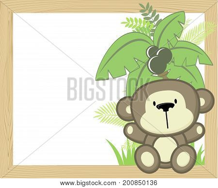 cute baby monkey with tropical leaves and palm tree on empty wood frame for copy space ideal for nursery art decoration or scrapbooking projects