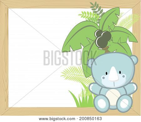 cute baby rhino with tropical leaves and palm tree on empty wood frame for copy space ideal for nursery art decoration or scrapbooking projects
