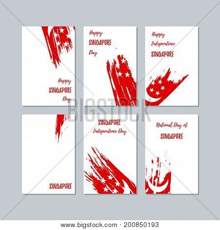Singapore Patriotic Cards For National Day. Expressive Brush Stroke In National Flag Colors On White