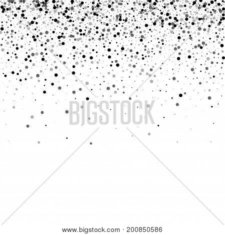 Dense Black Dots. Scatter Top Gradient With Dense Black Dots On White Background. Vector Illustratio