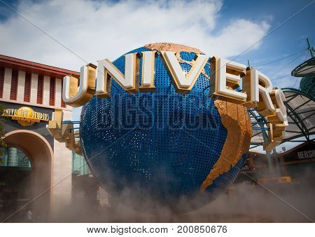 Sentosa Singapore - June 19 2010: Universal Studios Singapore Globe in front of the entrance