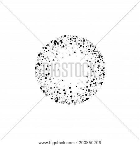 Dense Black Dots. Small Round Frame With Dense Black Dots On White Background. Vector Illustration.