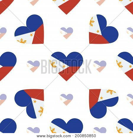 Philippines Flag Patriotic Seamless Pattern. National Flag In The Shape Of Heart. Vector Illustratio
