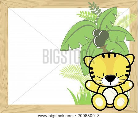 cute baby tiger with tropical leaves and palm tree on empty wood frame for copy space ideal for nursery art decoration or scrapbooking projects