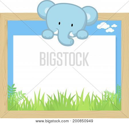 wood frame with cute baby elephant and blank board for copy space design for children