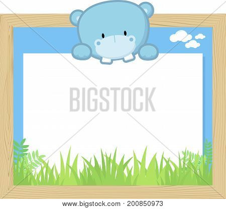 wood frame with cute baby hippo and blank board for copy space design for children