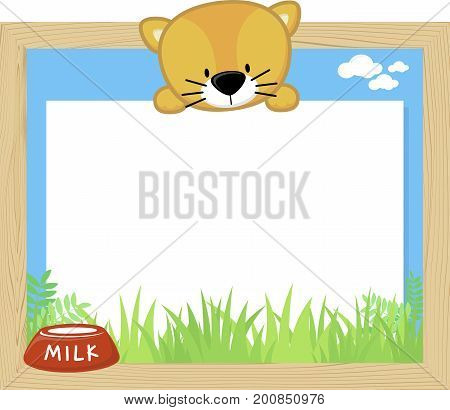 wood frame with cute kitten and blank board for copy space design for children