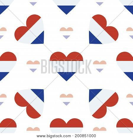 Netherlands Flag Patriotic Seamless Pattern. National Flag In The Shape Of Heart. Vector Illustratio