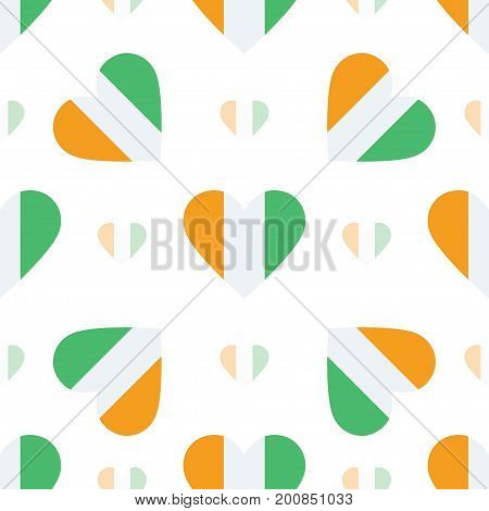 Cote D'ivoire Flag Patriotic Seamless Pattern. National Flag In The Shape Of Heart. Vector Illustrat