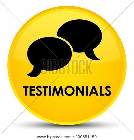 Testimonials (chat Icon) Special Yellow Round Button