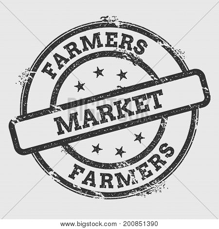 Farmers Market Rubber Stamp Isolated On White Background. Grunge Round Seal With Text, Ink Texture A