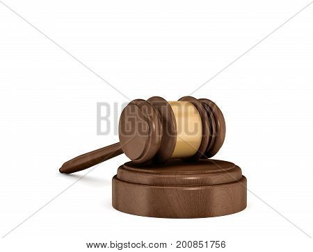 3d rendering of an isolated dark wood judge gavel resting on a sound block. Court proceeding. Judicial system. Law and crime.