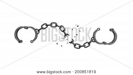 3d rendering of open arm shackles hanging on white background with a broken chain. Tear down all walls. Freedom of life. Unlimited future.