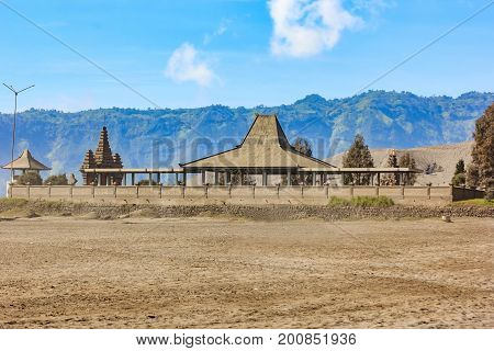 Hindu Temple Pura Luhur Poten at the foot of the active Volcano Bromo early in the morning at the Tengger Semeru National Park in East Java Indonesia.