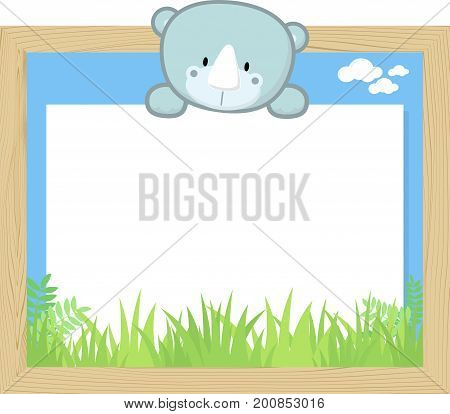 wood frame with cute baby rhino and blank board for copy space design for children
