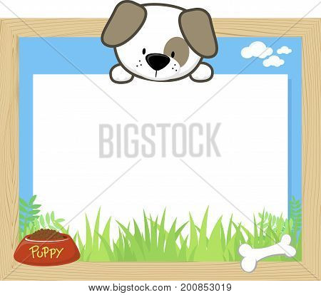 wood frame with cute puppy and blank board for copy space design for children