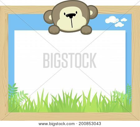 wood frame with cute baby monkey and blank board for copy space design for children