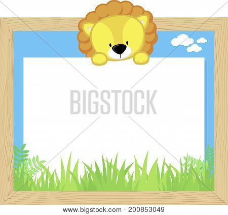 wood frame with cute baby lion and blank board for copy space design for children