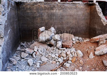 Stack Of Concrete Fractions In Construction Site