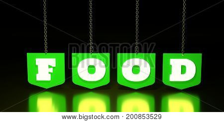Word FOOD suspended by chain. 3D rendering. Promotional background