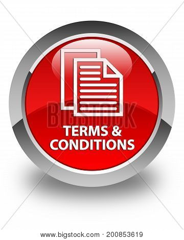Terms And Conditions (pages Icon) Glossy Red Round Button