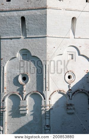 Wall part of Spaso-Prilutsky Monastery in the Vologda city, Russia. Castle defense wall. Decorative element