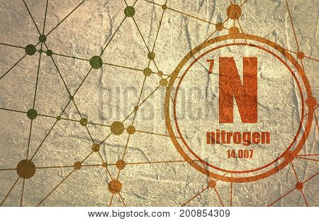 Nitrogen chemical element. Sign with atomic number and atomic weight. Chemical element of periodic table. Molecule And Communication Background. Connected lines with dots.