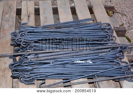 The Stack Of Tie  Rebar  Prepare For Casting Work