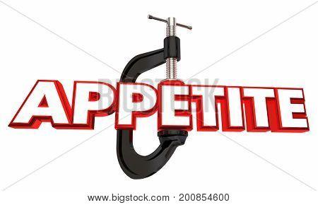 Appetite Clamp Reduce Hunger Diet Word 3d Illustration
