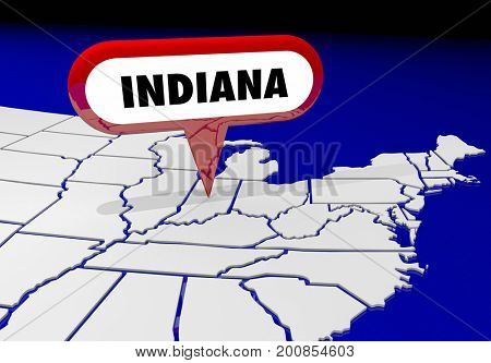 Indiana IN State Map Pin Location Destination 3d Illustration