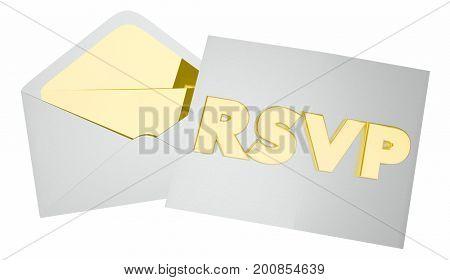 RSVP Invitation Envelope Event Attendance Reservation 3d Illustration