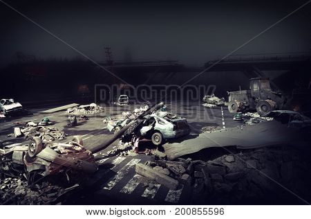 Ruins of a  night city highway. Apocalyptic landscape.3d illustration concept