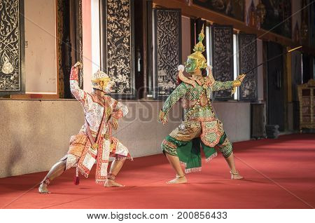 Hanuman and Tosakan is traditional dance drama art of Thai classical masked this performance is Ramayana THAI KHON epic